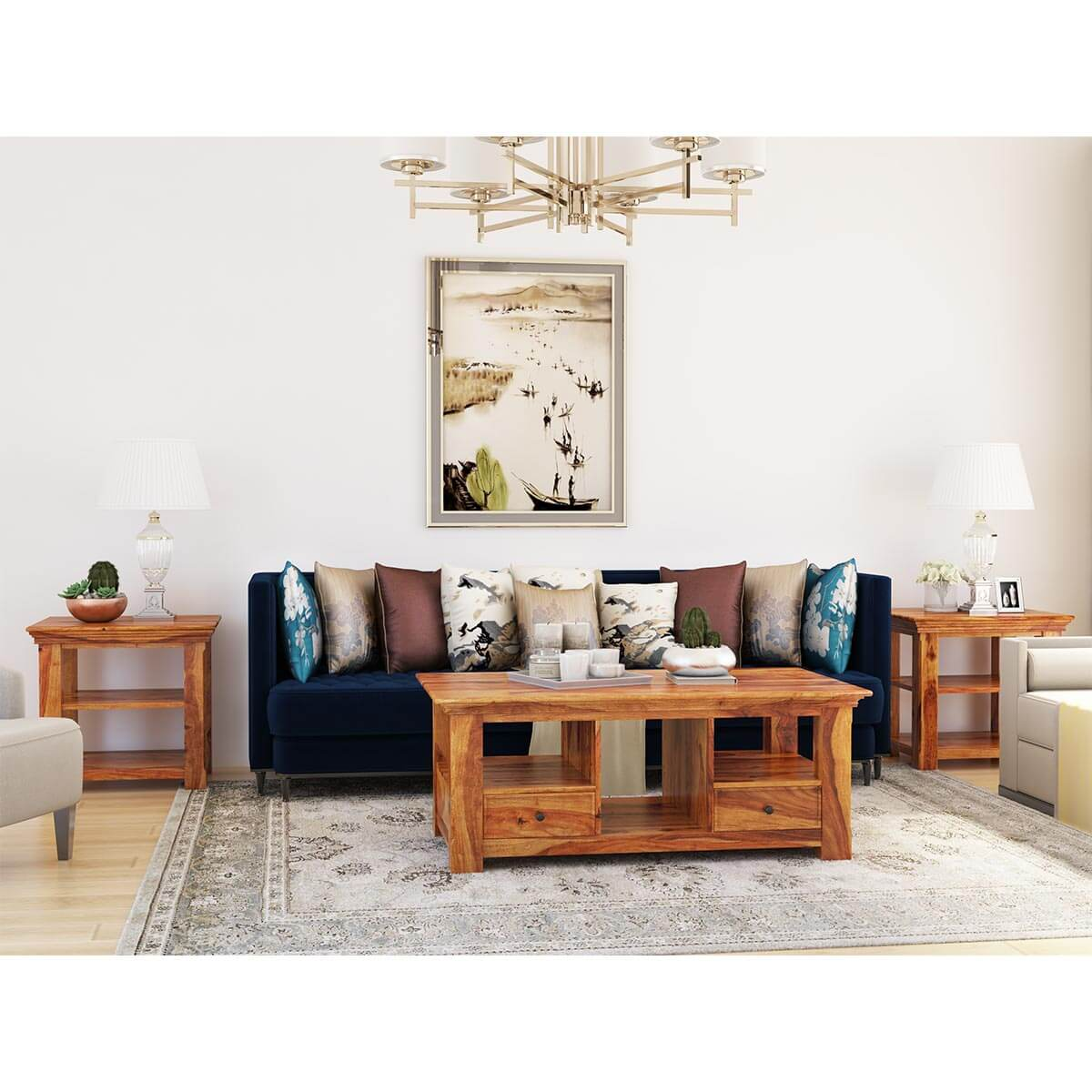 Priscus Midcentury Solid Wood 3 Piece Coffee Table Set With Drawers