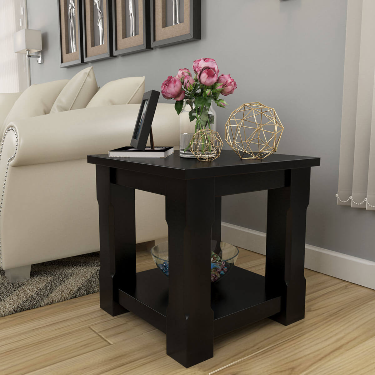 Brimson Contemporary Style Solid Wood 2 Tier Square End Table
