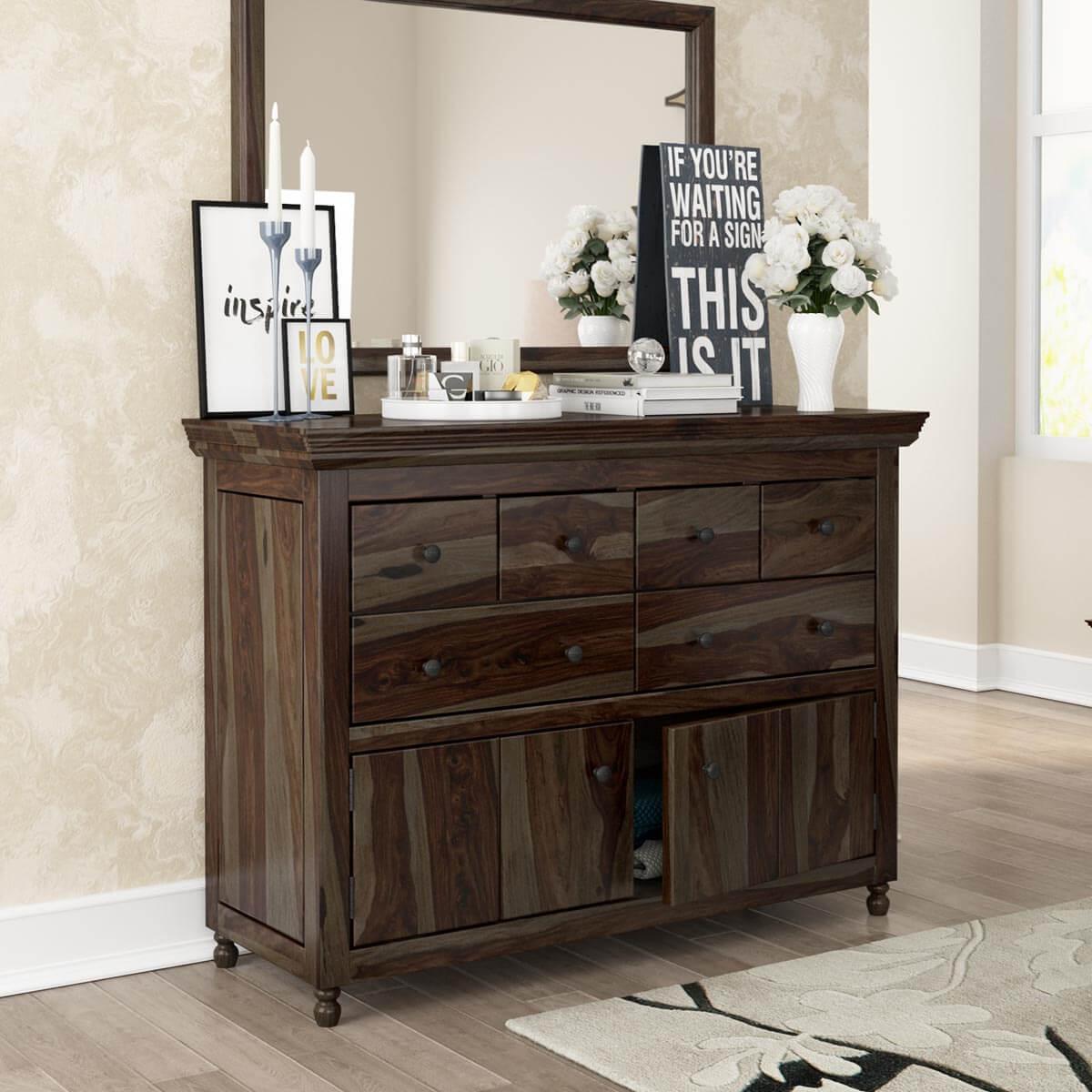 Jerold Modern Rustic Solid Hardwood 6 Drawer Dresser