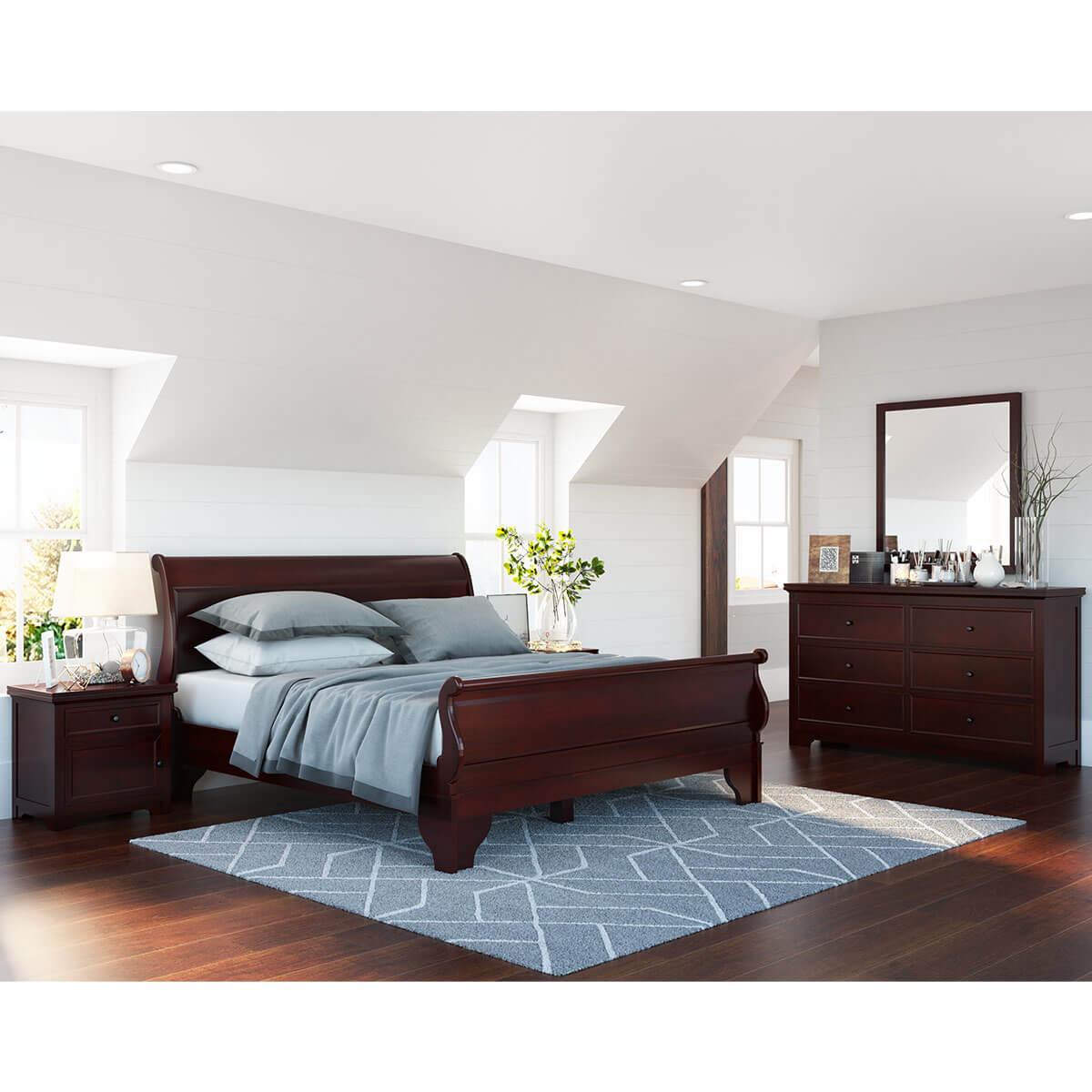 Carina Contemporary Mahogany Wood 4 Piece Bedroom Set