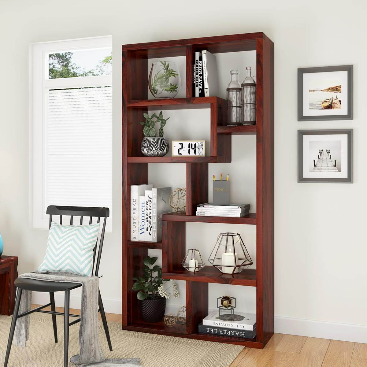 Gadsden Contemporary 8 Open Shelf Solid Wood Geometric Bookcase