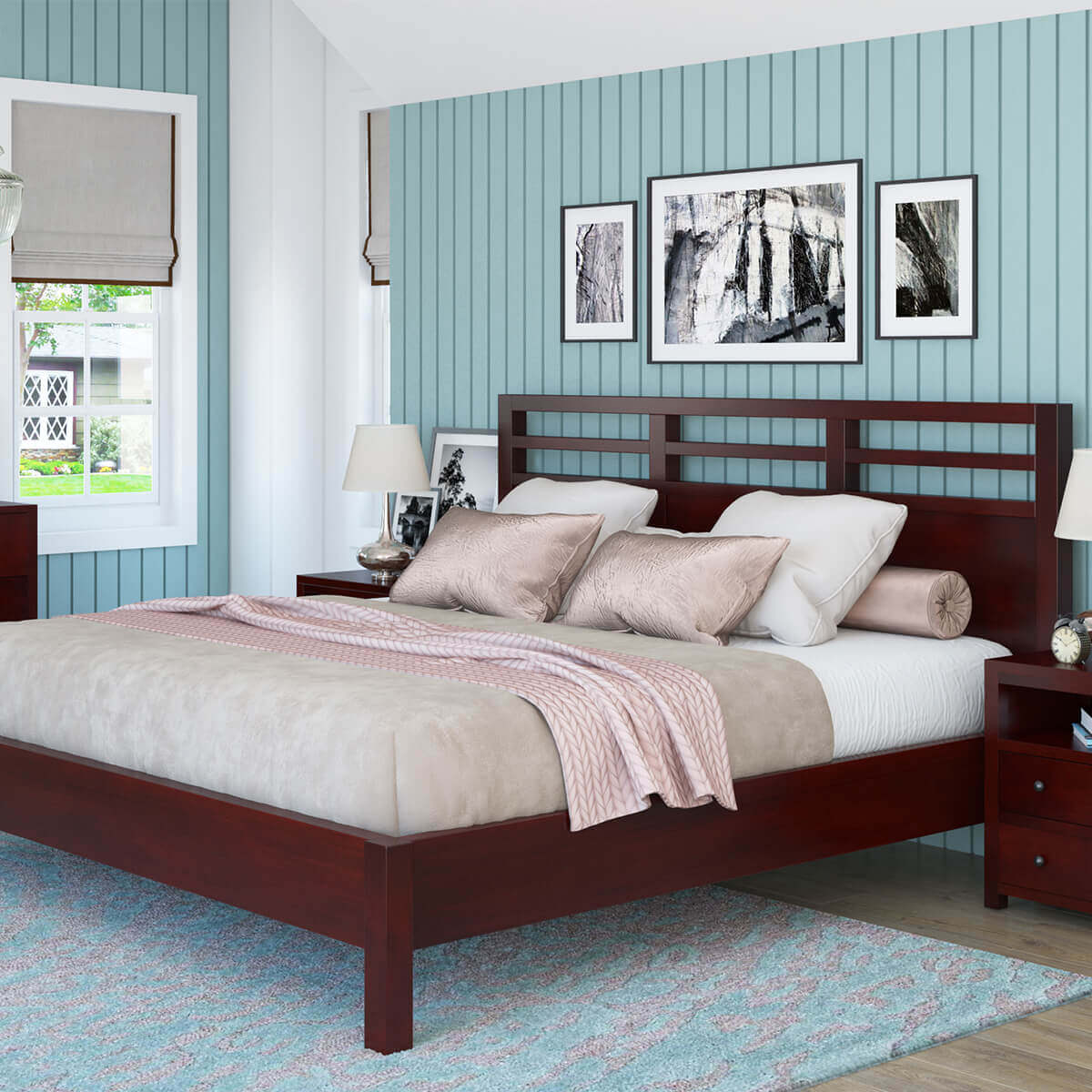 Andalusia Contemporary Solid Mahogany Wood Platform Bed Frame