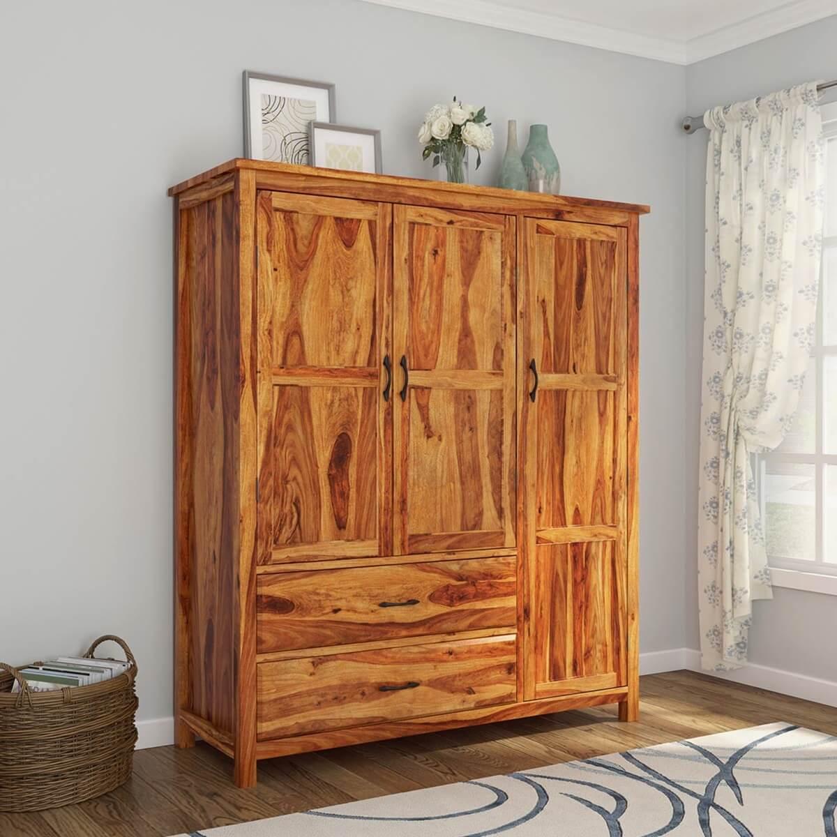 sheffield rustic solid wood 3 door large bedroom wardrobe