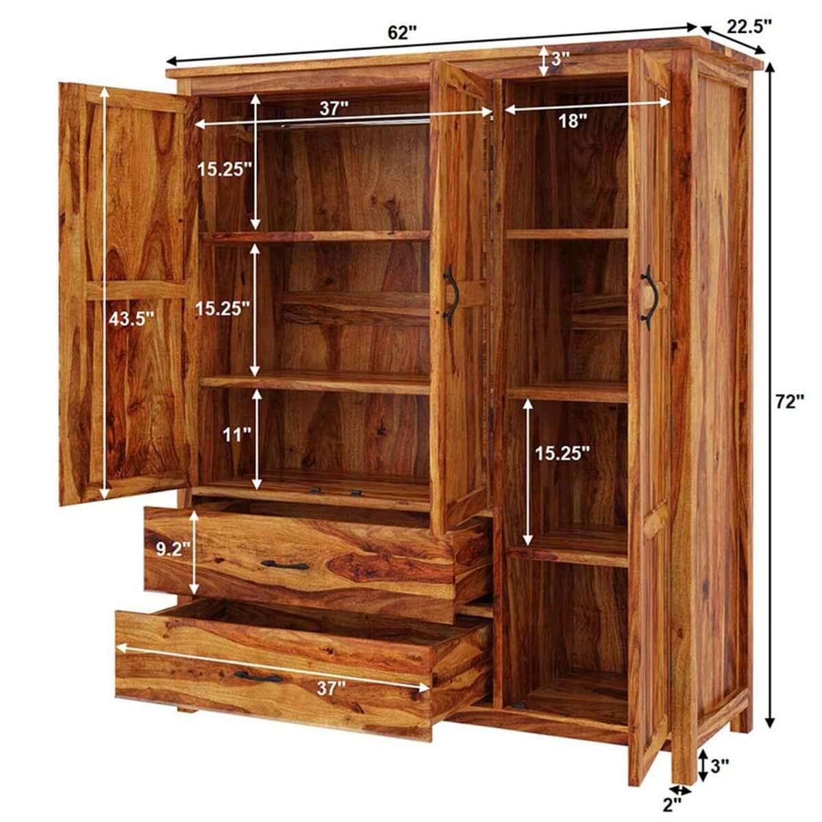 Sheffield Rustic Solid Wood Large Bedroom Wardrobe Armoire ...