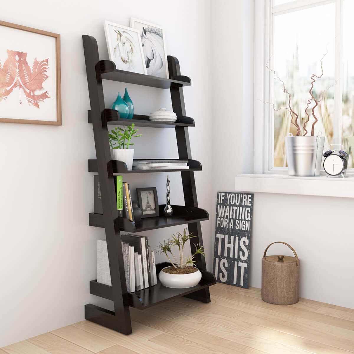 Ignacio 5 Open Shelf Solid Wood Leaning Ladder Bookcase