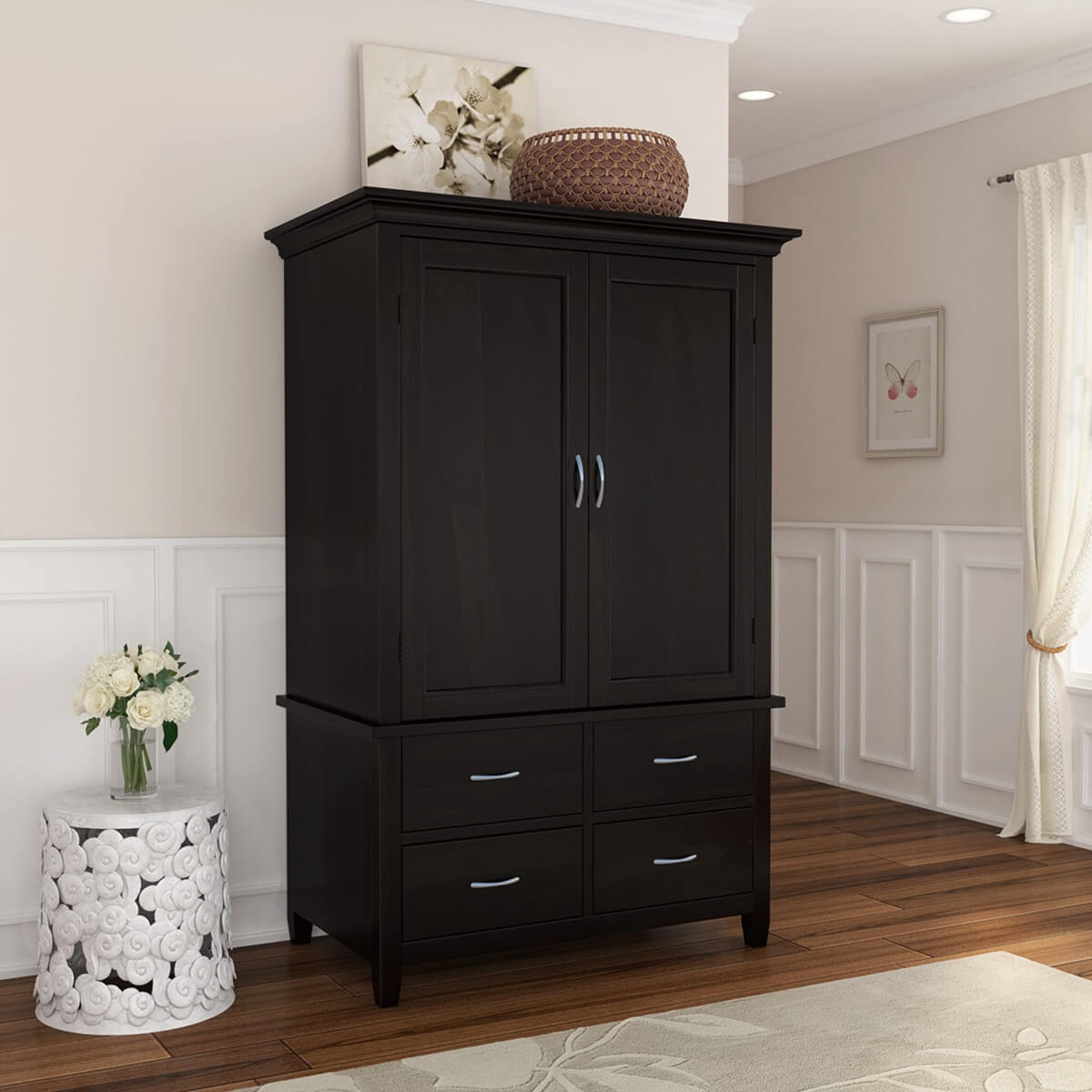 Magaluf Rustic Solid Wood Large Bedroom Armoire Wardrobe With Drawers