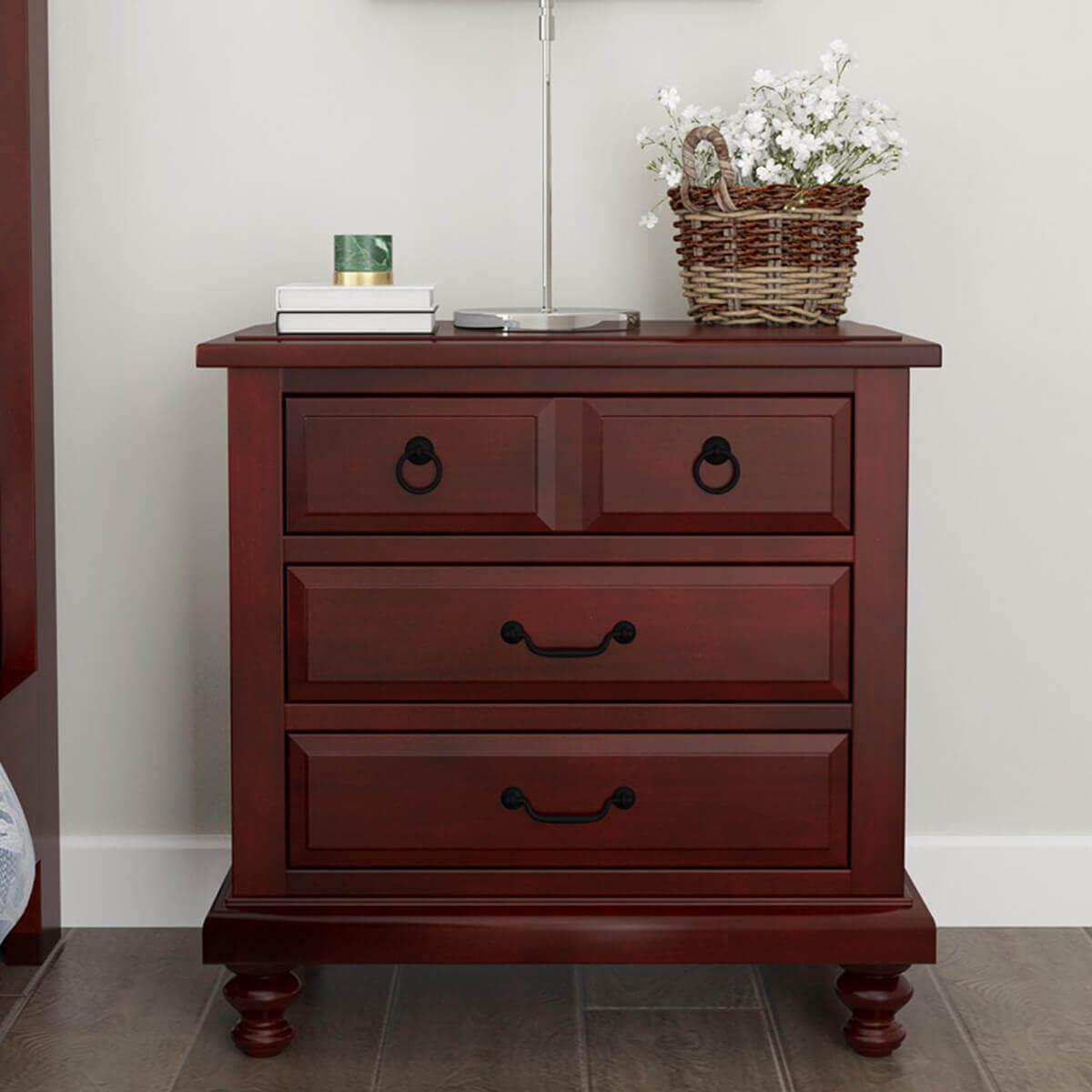 Iowa Traditional Style Mahogany Wood 3 Drawer Nightstand