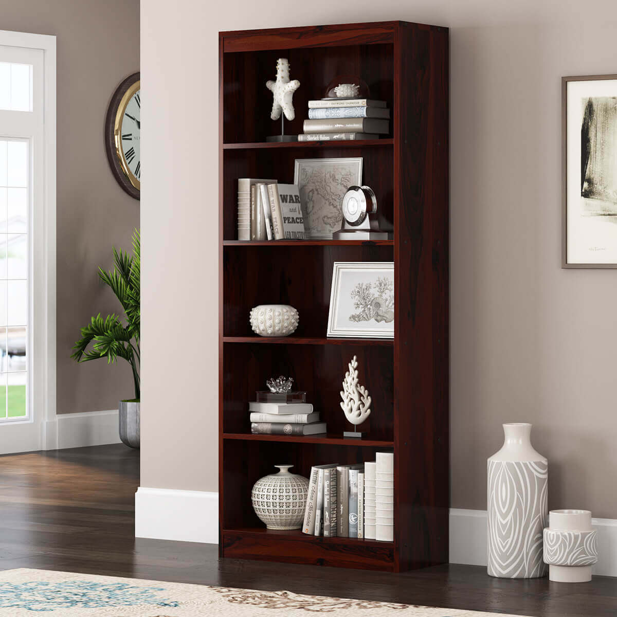 Dubois Rustic Solid Wood 5 Open Shelf Standard Bookcase