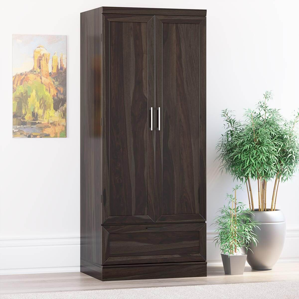 Anchorage Rustic Solid Wood Wardrobe Clothing Armoire With Drawer