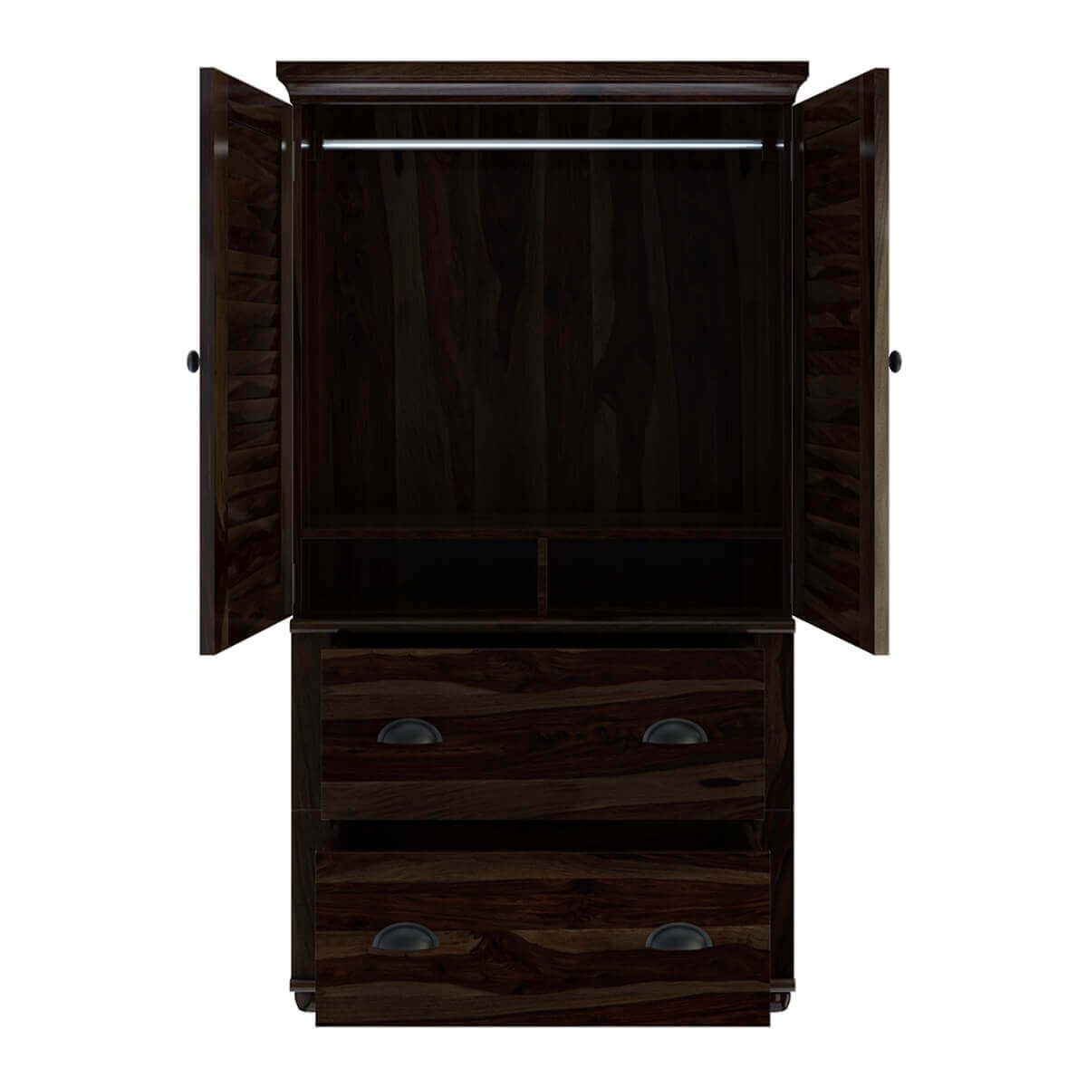 Indiana Rustic Solid Wood Wardrobe Armoire With Drawers ...