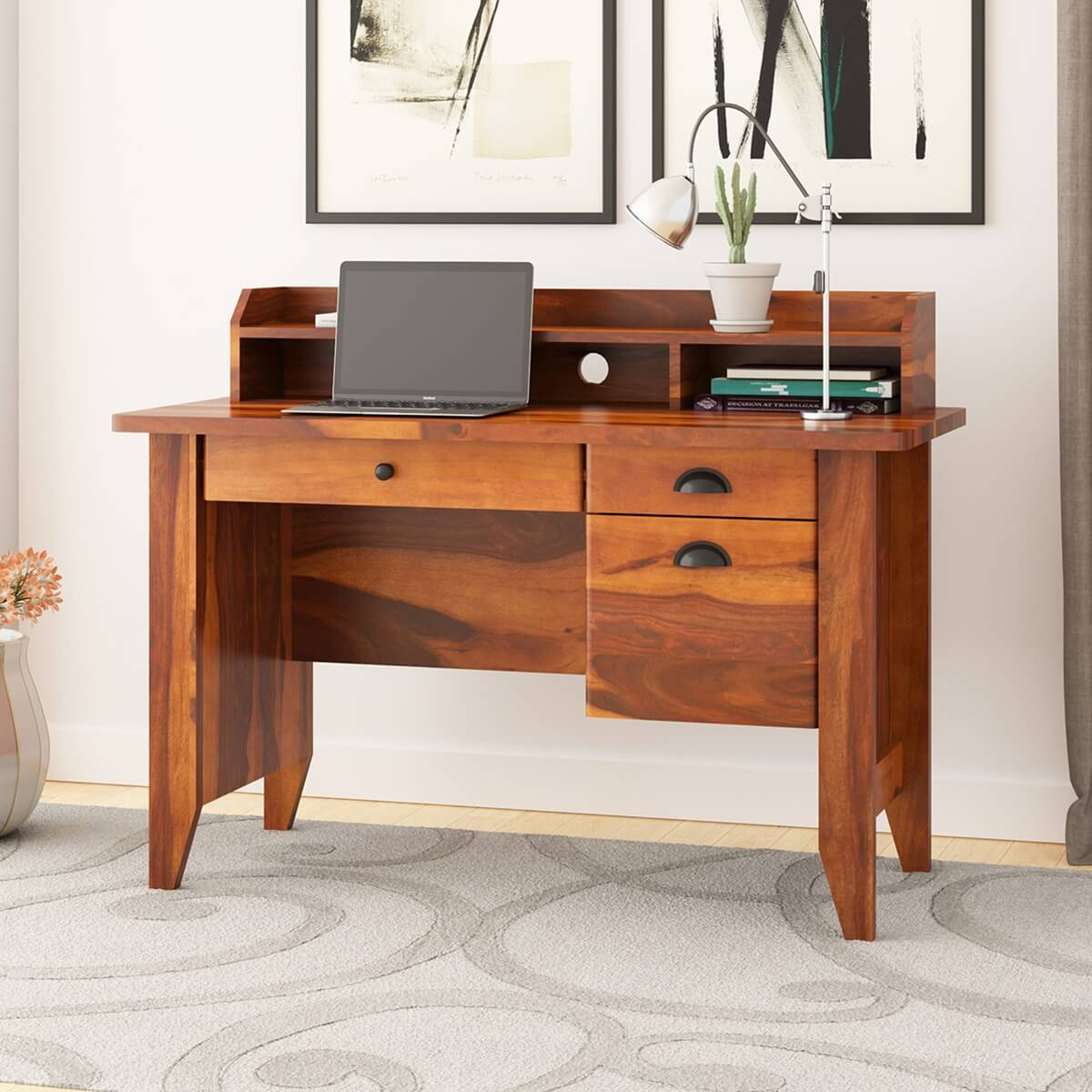 Dudleyville Computer Desk with Hutch and 50 Drawers