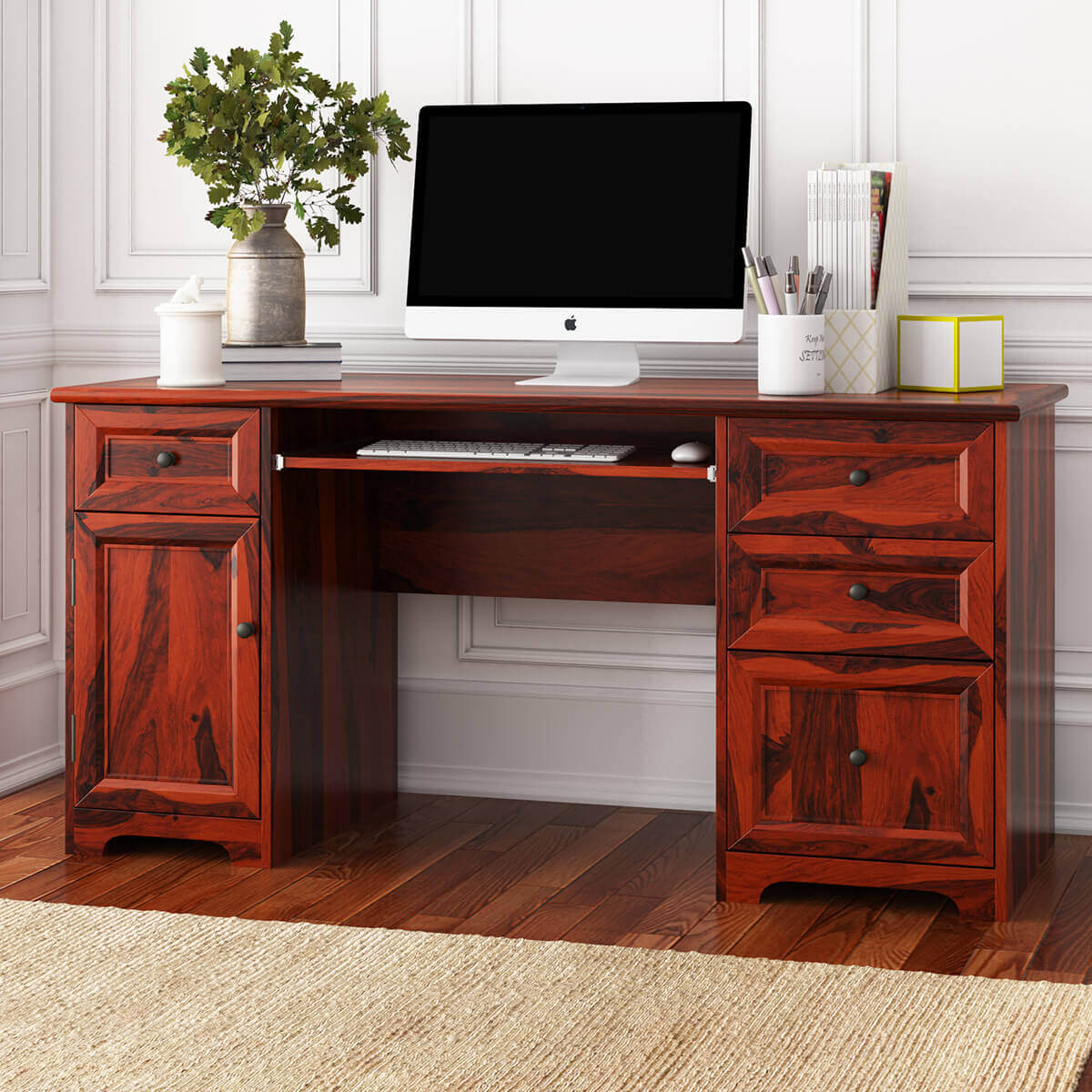 Poston Rustic Solid Wood 4 Drawer 62 Large Home Office Computer Desk