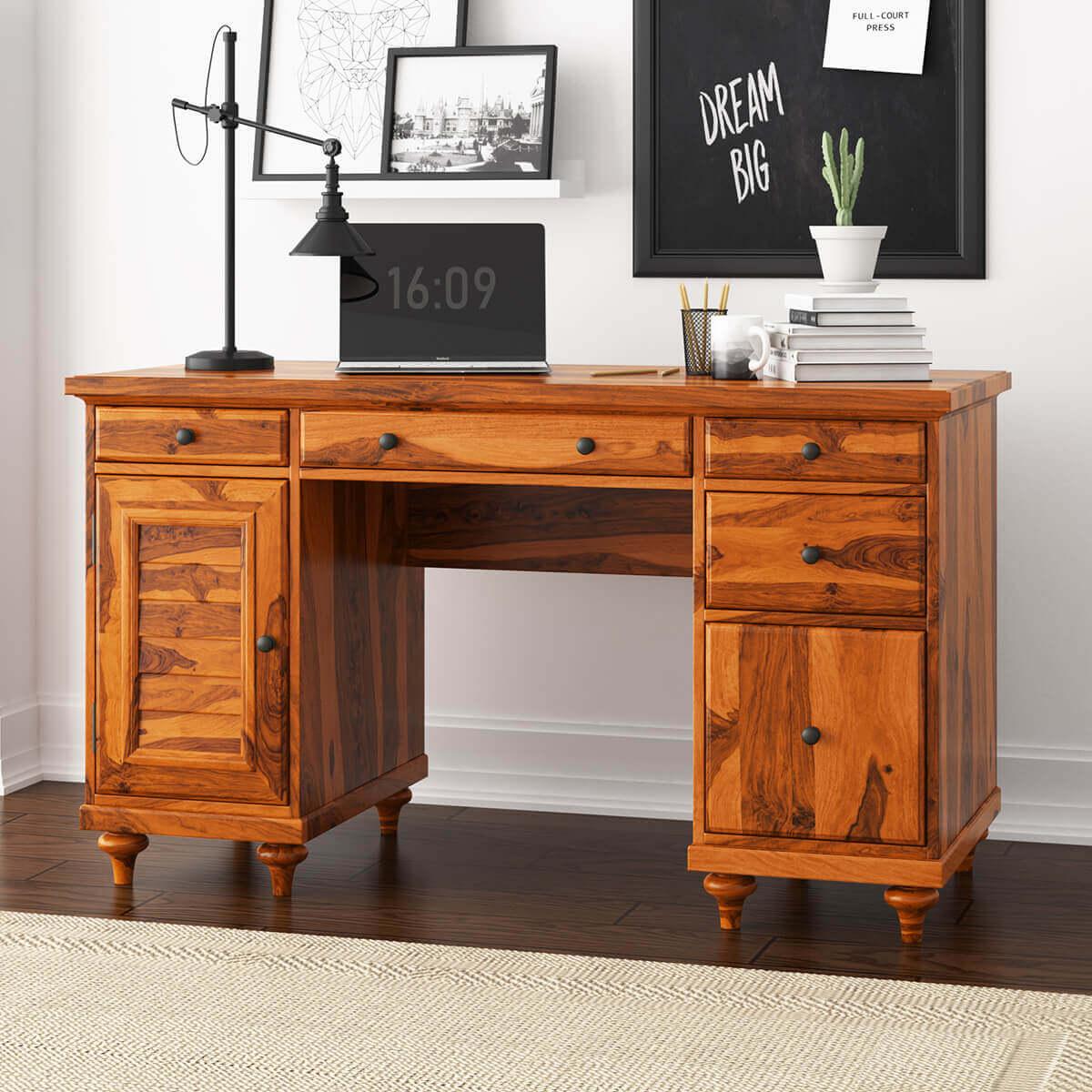 - Clarkton Rustic Solid Wood Computer Desk With Louvered Door