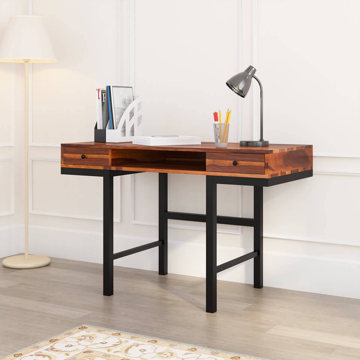 Cibola Rustic Solid Wood 2 Drawer Industrial Writing Desk