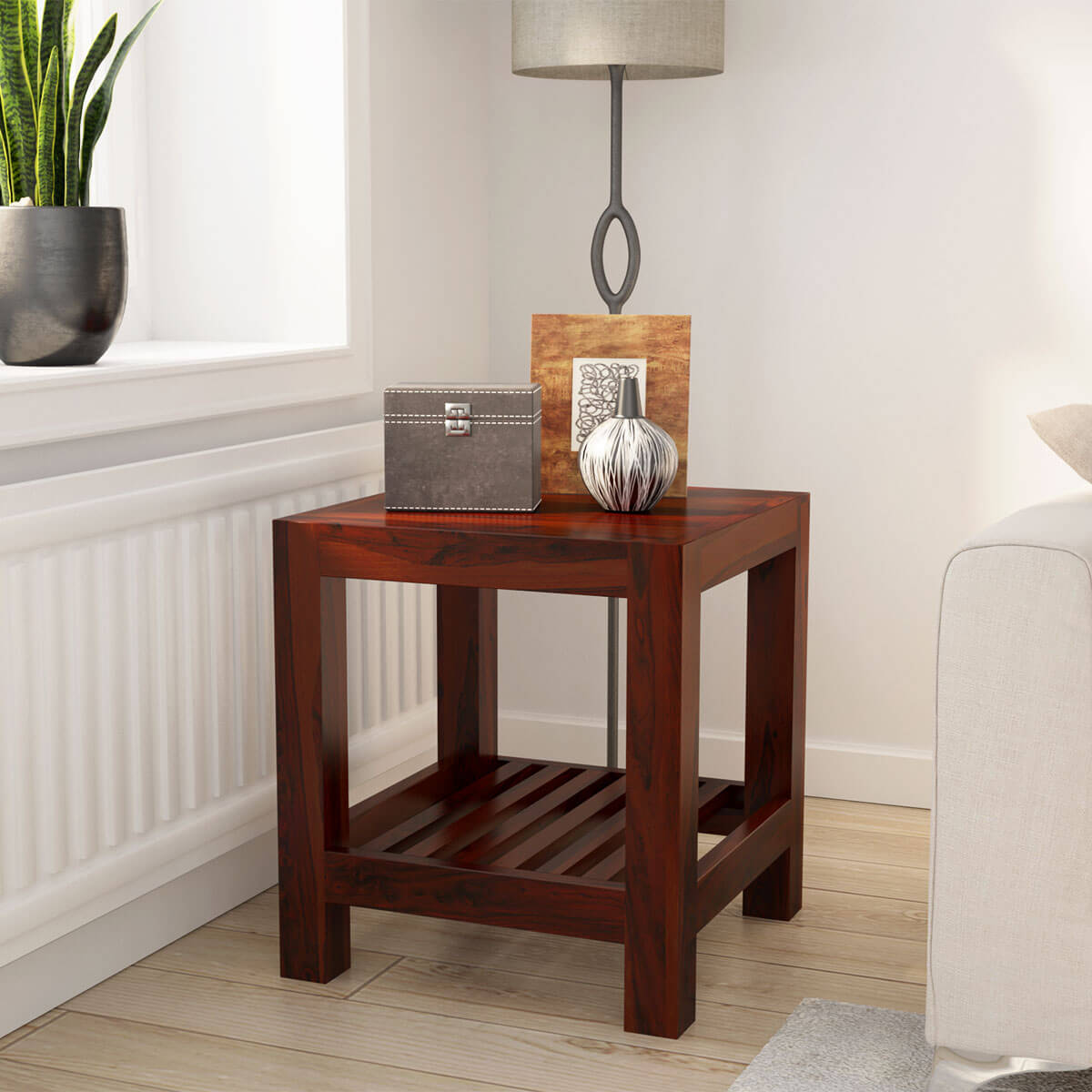 Portland Contemporary Solid Wood 2 Tier Rustic End Table