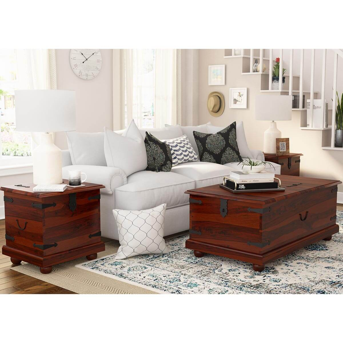 Kokanee Solid Wood Storage Trunk Coffee Table 3 Piece Set