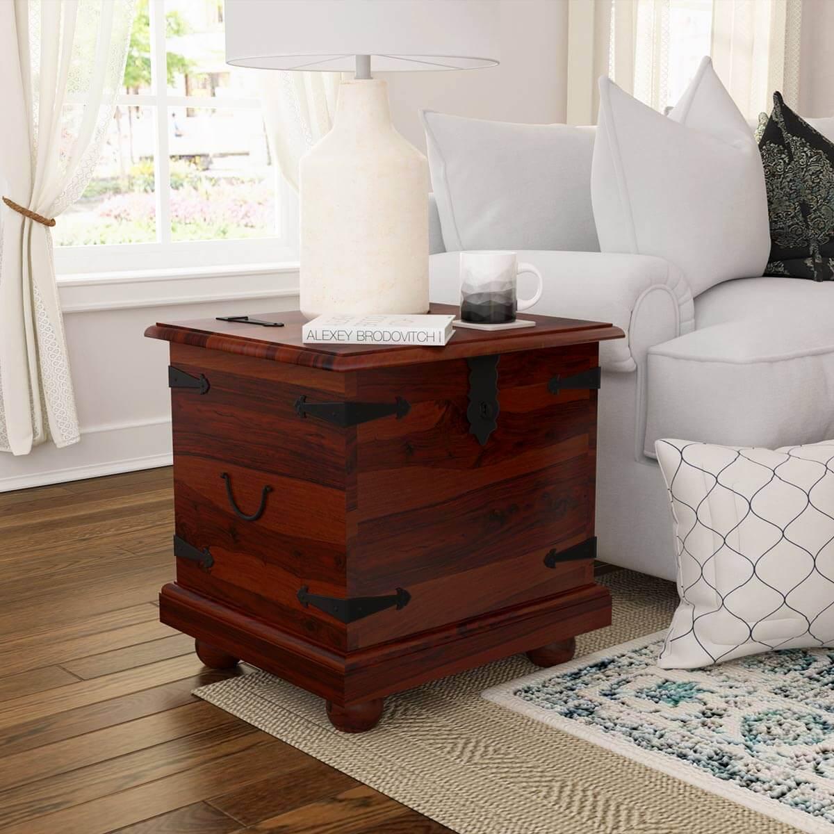 Kokanee Rustic Solid Wood Storage Trunk End Table