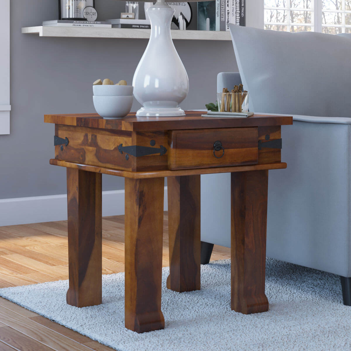Terrarum Rustic Solid Wood End Table With Drawer