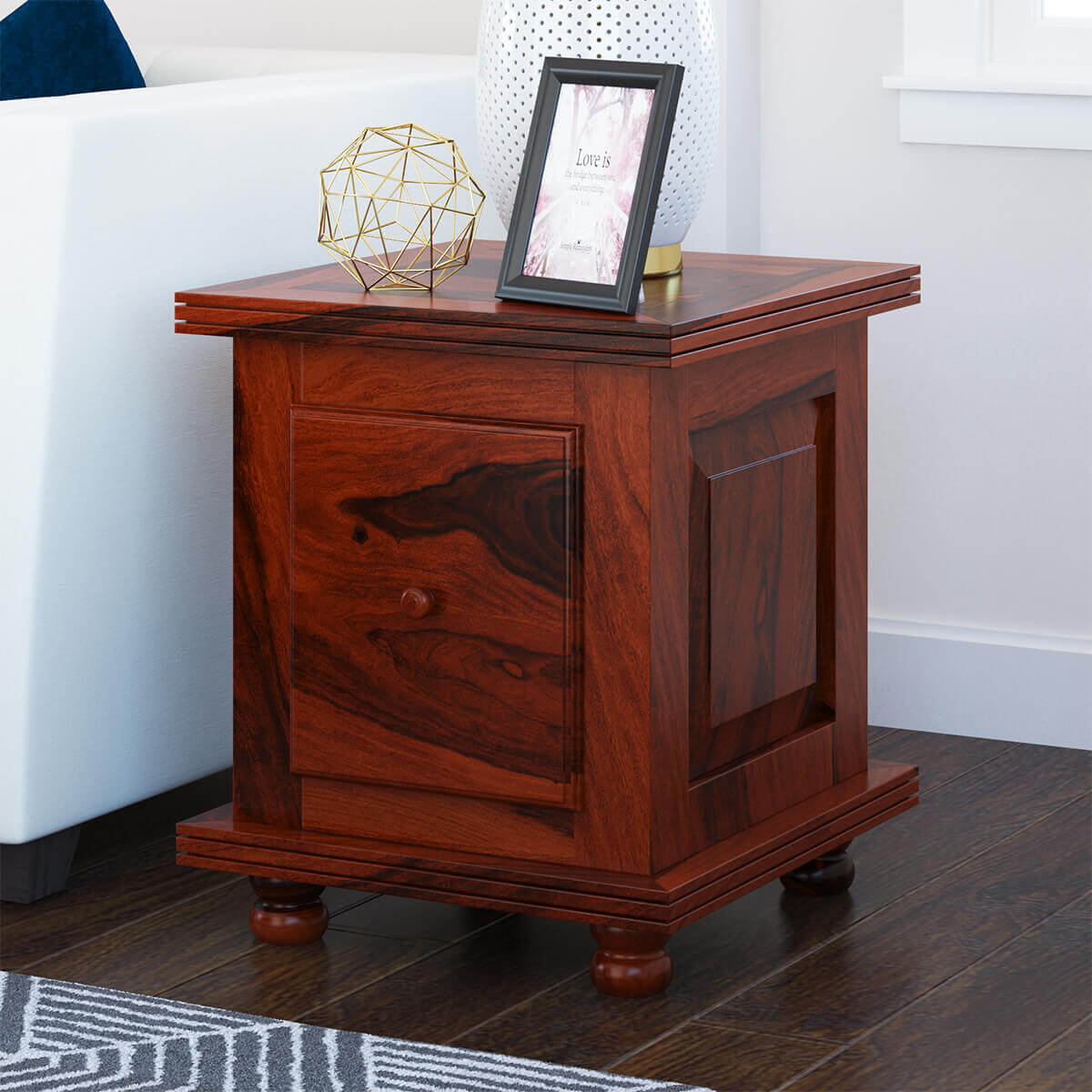 Arca Rustic Solid Wood 1 Drawer Storage End Table