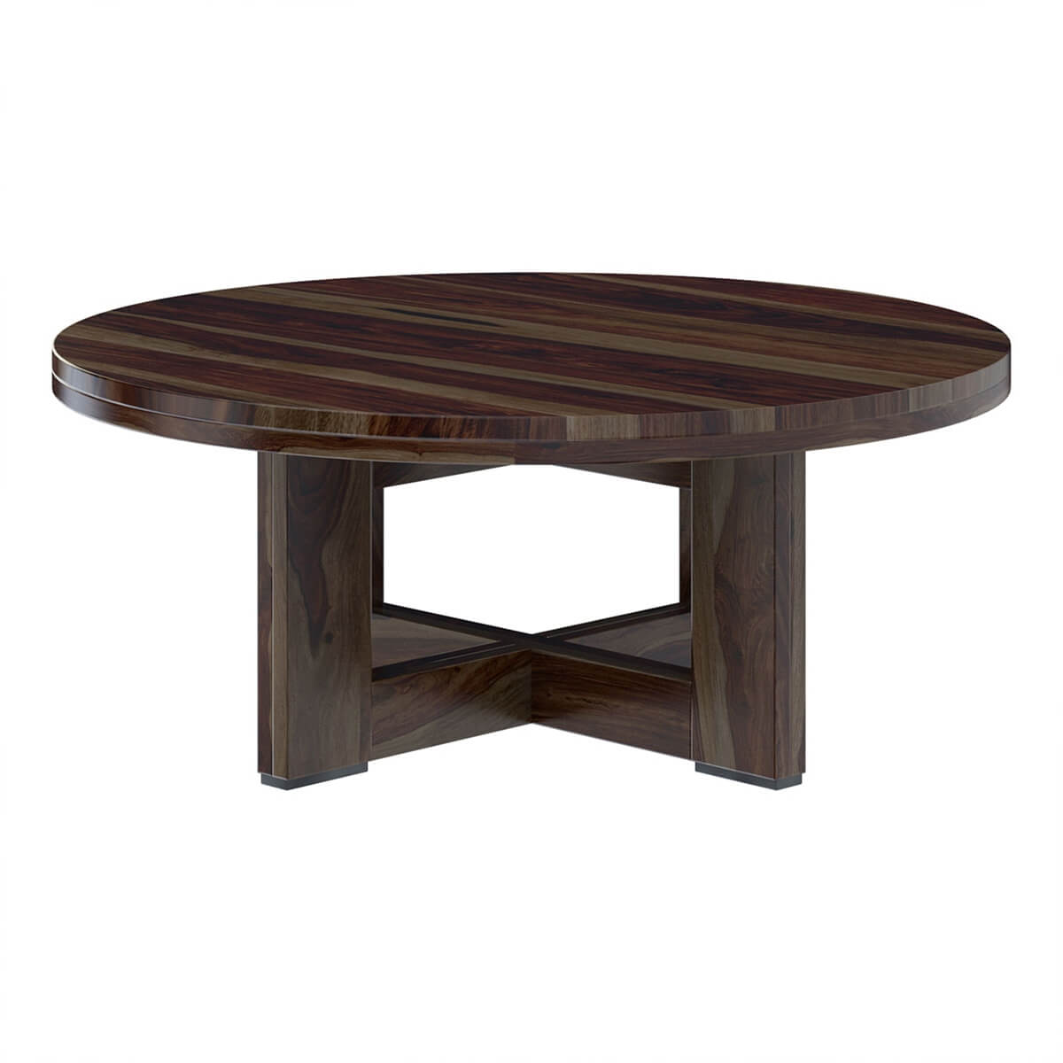 Solid Wood Curved Coffee Table: Amargosa Contemporary Rustic Solid Wood Round Coffee Table