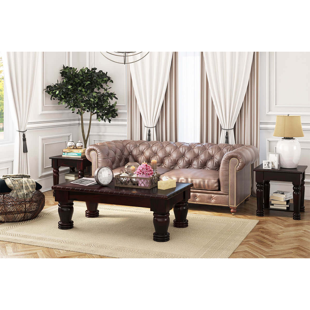 Vallecito Rustic Solid Wood 3 Piece Coffee Table Set