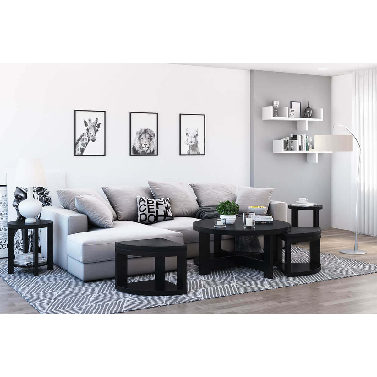 Zayante Rustic Solid Wood 5 Piece Nesting Coffee Table Set