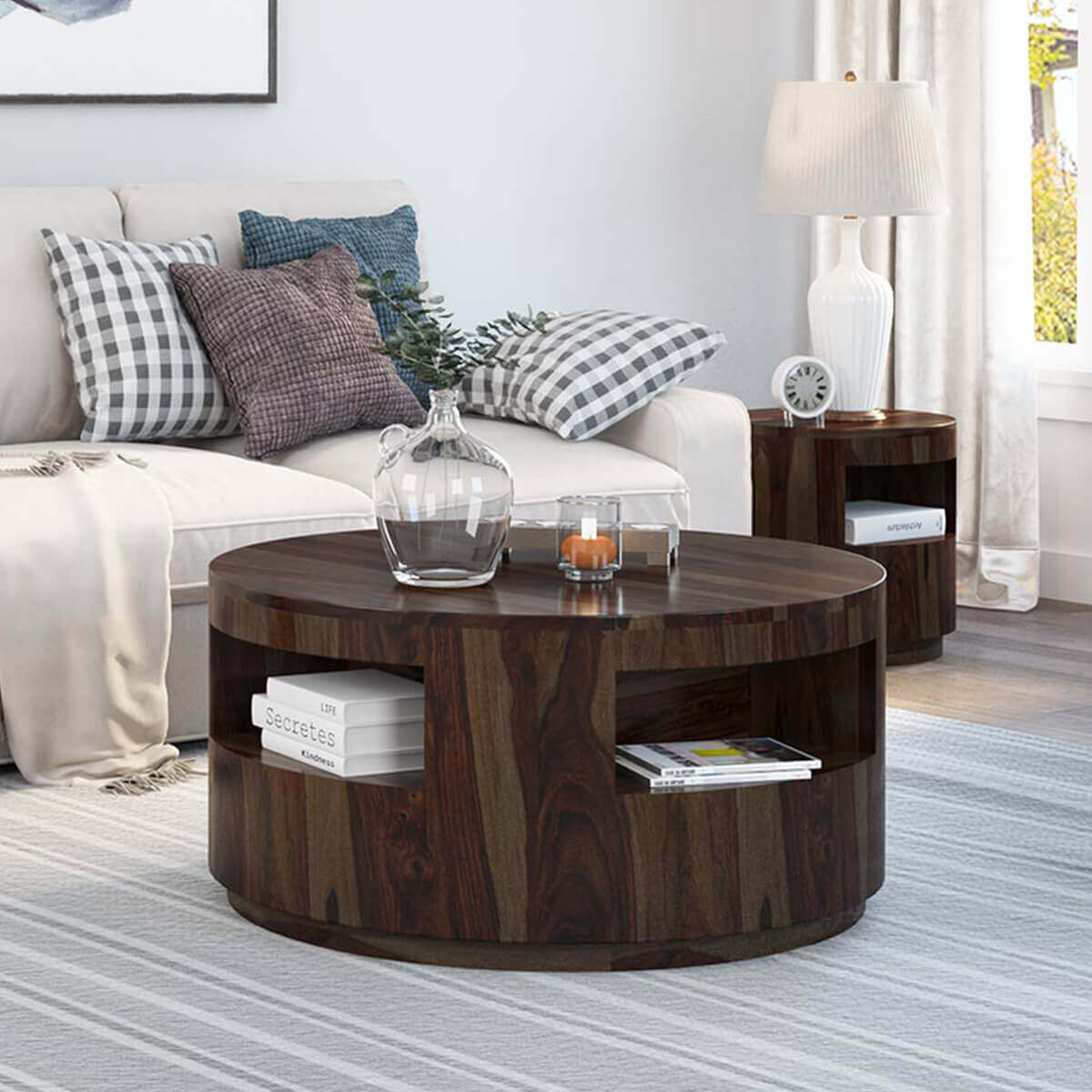 Ladonia Rustic Solid Wood Round Coffee Table