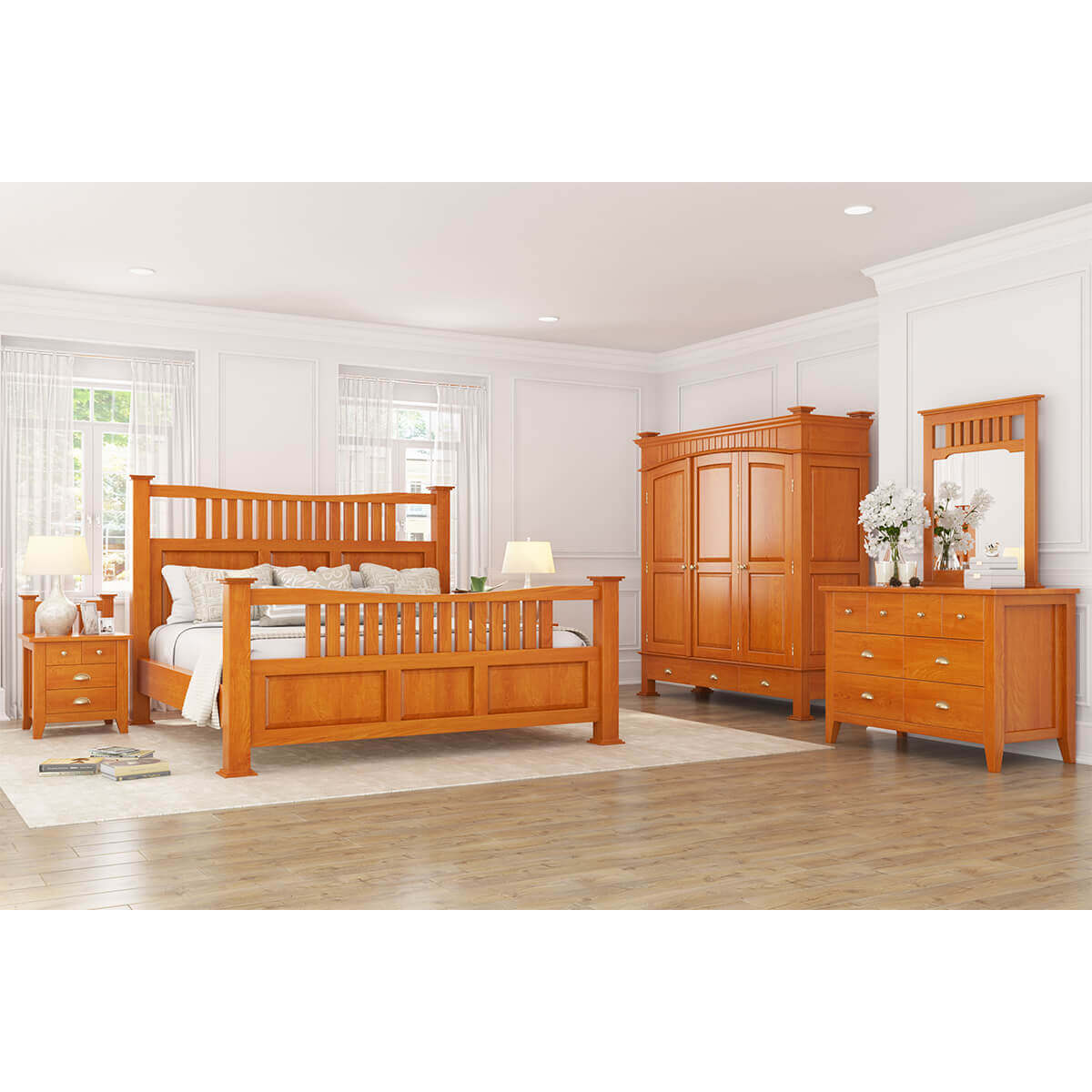 Longport Traditional Style Mahogany Wood 6 Piece Bedroom Set