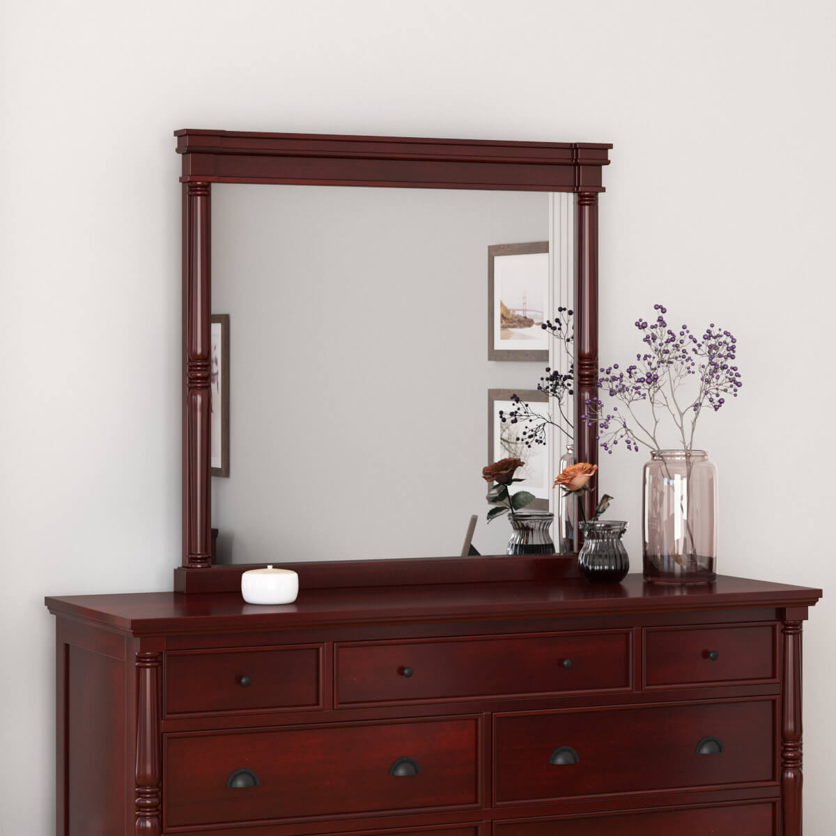 Cayuta Traditional Style Solid Mahogany Wood Mirror Frame