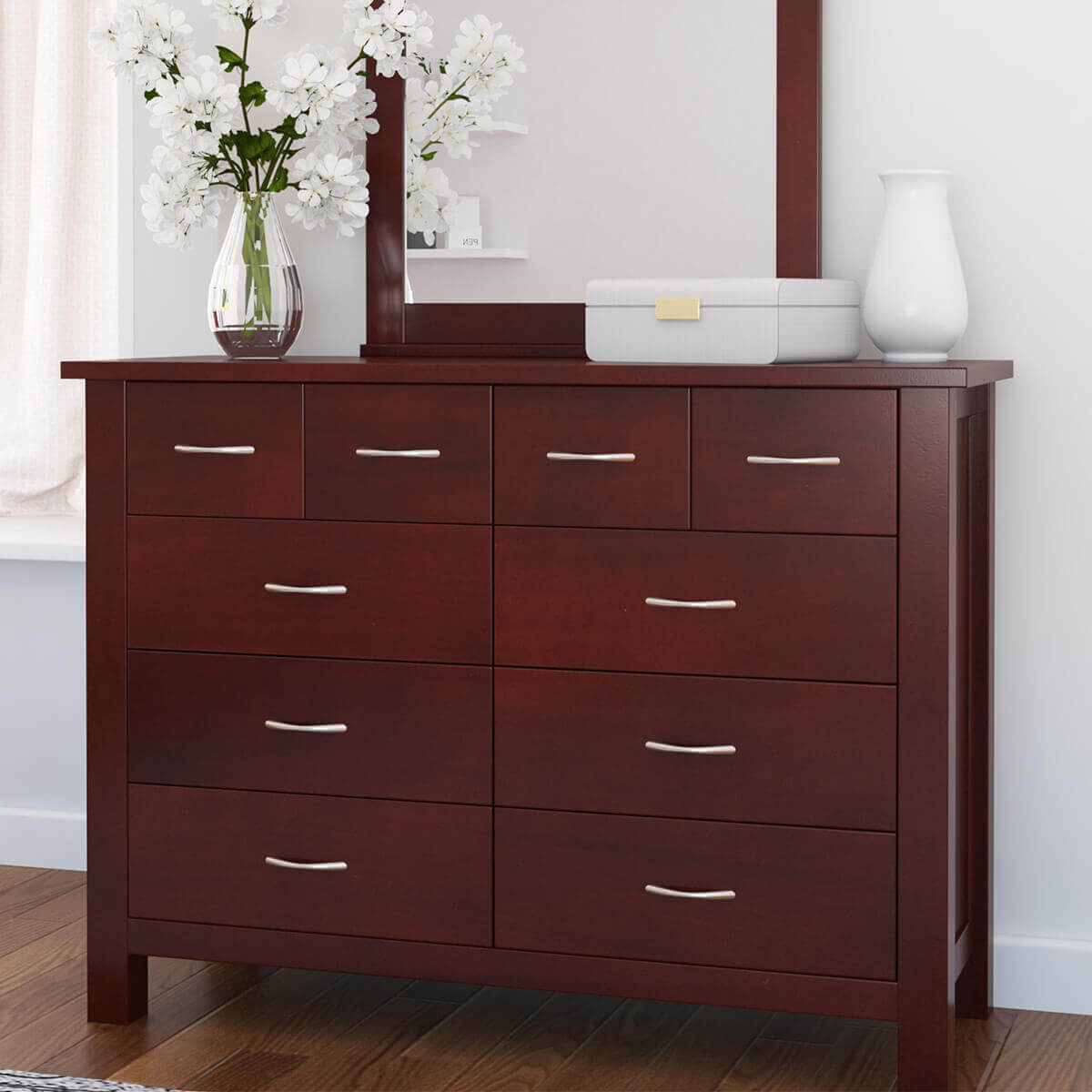 Amenia Solid Mahogany Wood 10 Drawer Dresser