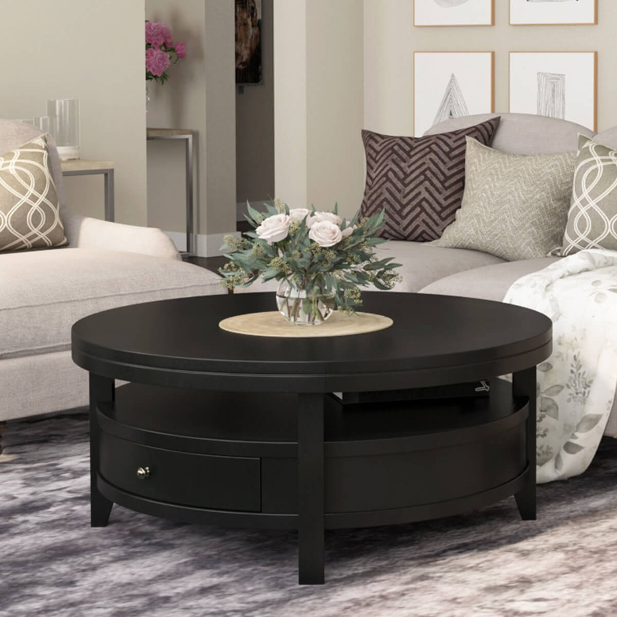 - Toledo Solid Wood Black Modern Round Coffee Table