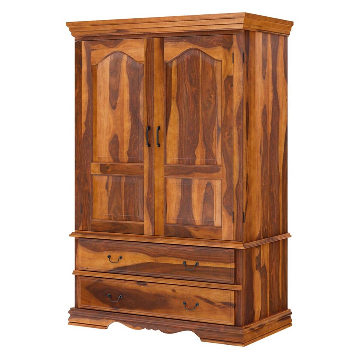 Shelburne Rustic Solid Wood Large TV Armoire Cabinet With ...