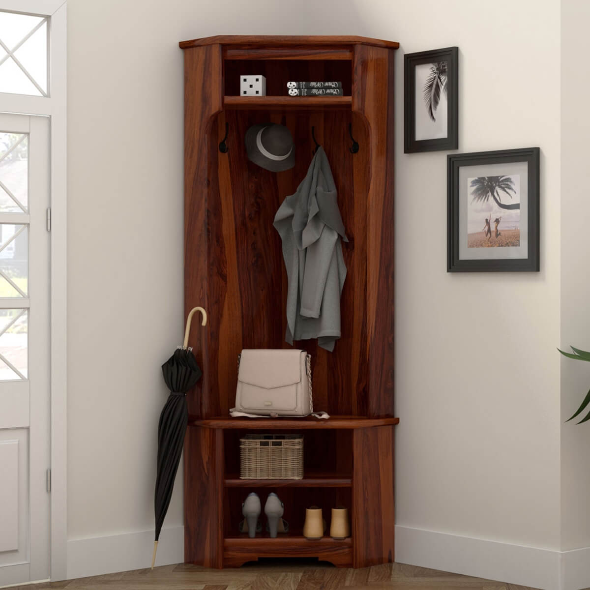 Harlingen Rustic Solid Wood Corner Entryway Hall Tree and Shoe Storage