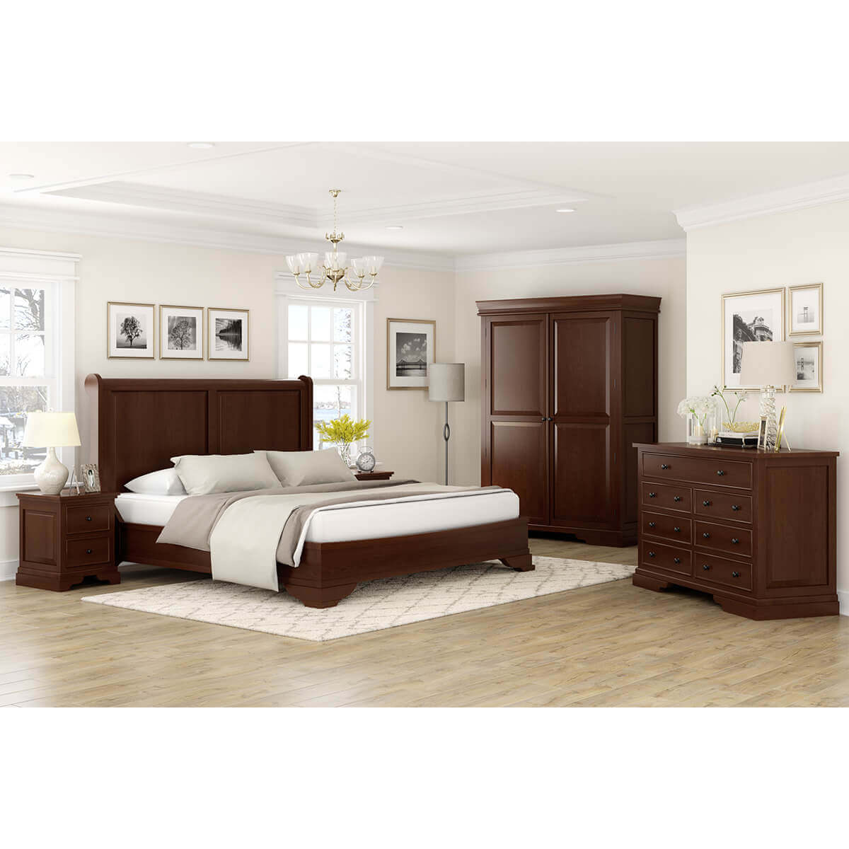Accoville Mahogany Traditional 5 Piece Bedroom Set