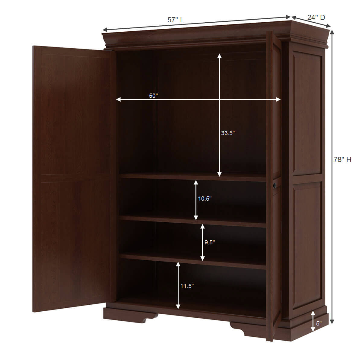 Accoville Mahogany Wood Large Bedroom Clothing Armoire ...