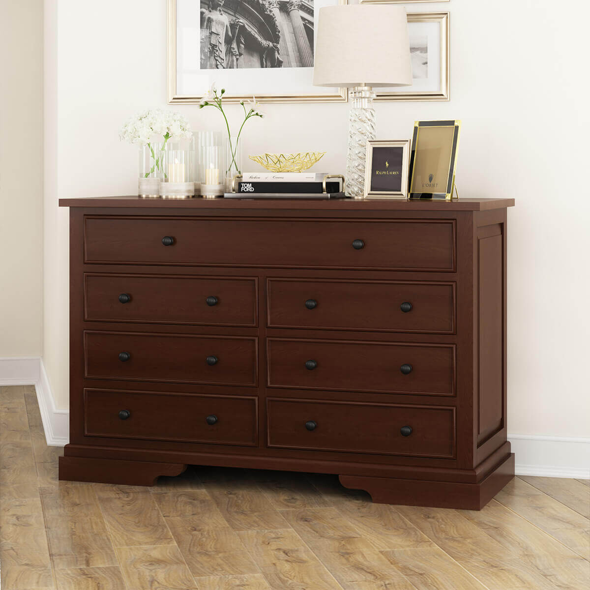 Accoville Traditional Mahogany Wood 7 Drawer Double Dresser