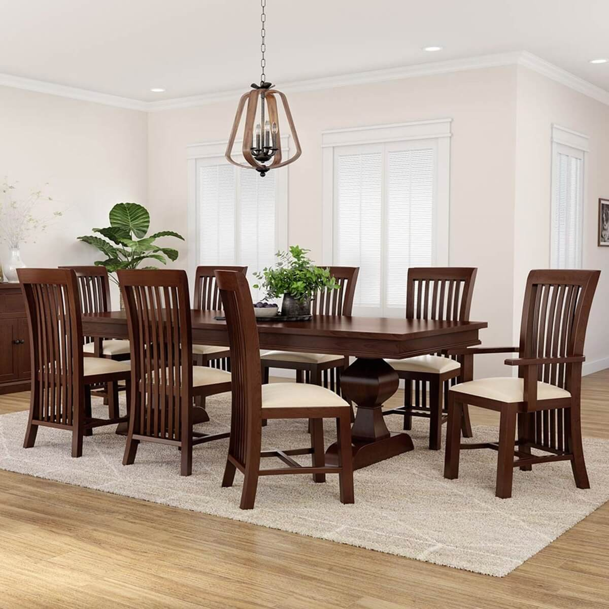Tannersville Solid Mahogany Wood Dining Table Chair Set For 8 People