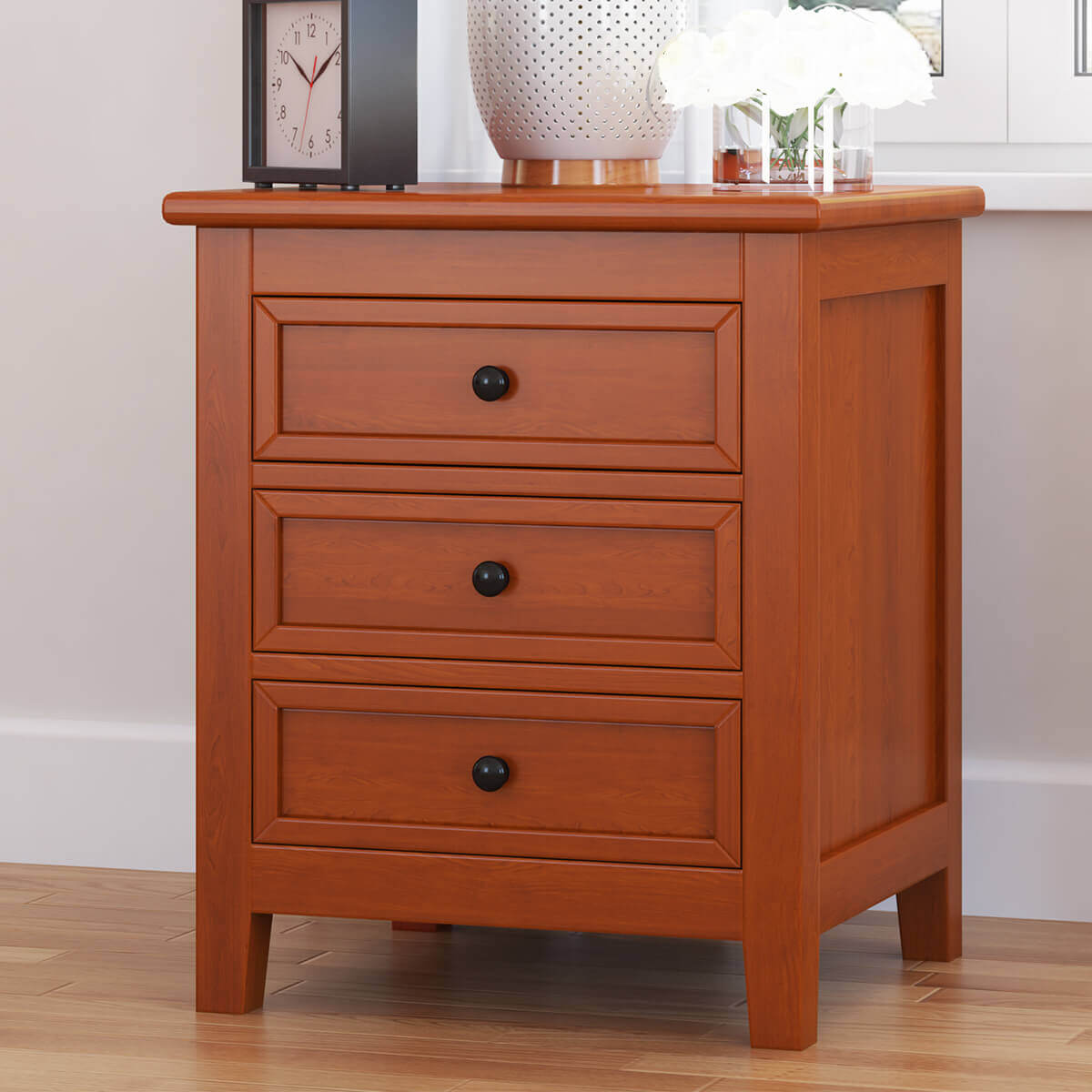 Kristoff Solid Mahogany Wood 3 Drawer Nightstand