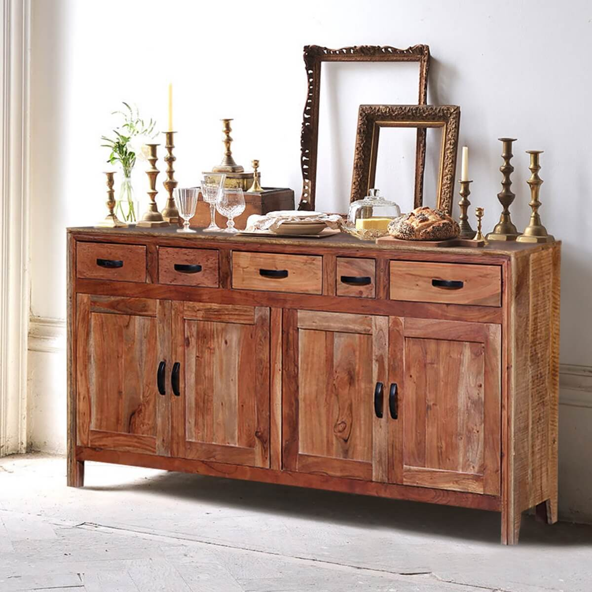 Masardis Reclaimed Wood 4 Drawer Rustic Sideboard Cabinet