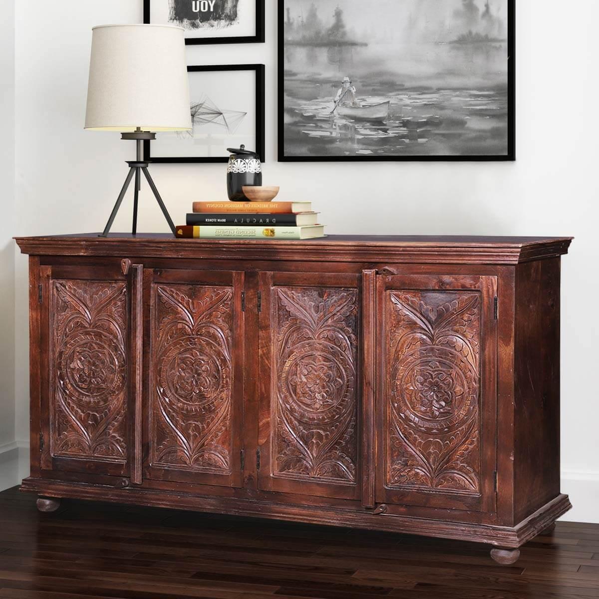 Bentonia Rustic Reclaimed Wood Furniture Large Buffet Cabinet