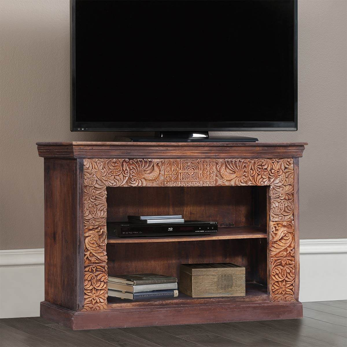 Altenburg Carved Frame Reclaimed Wood Media Console TV Stand