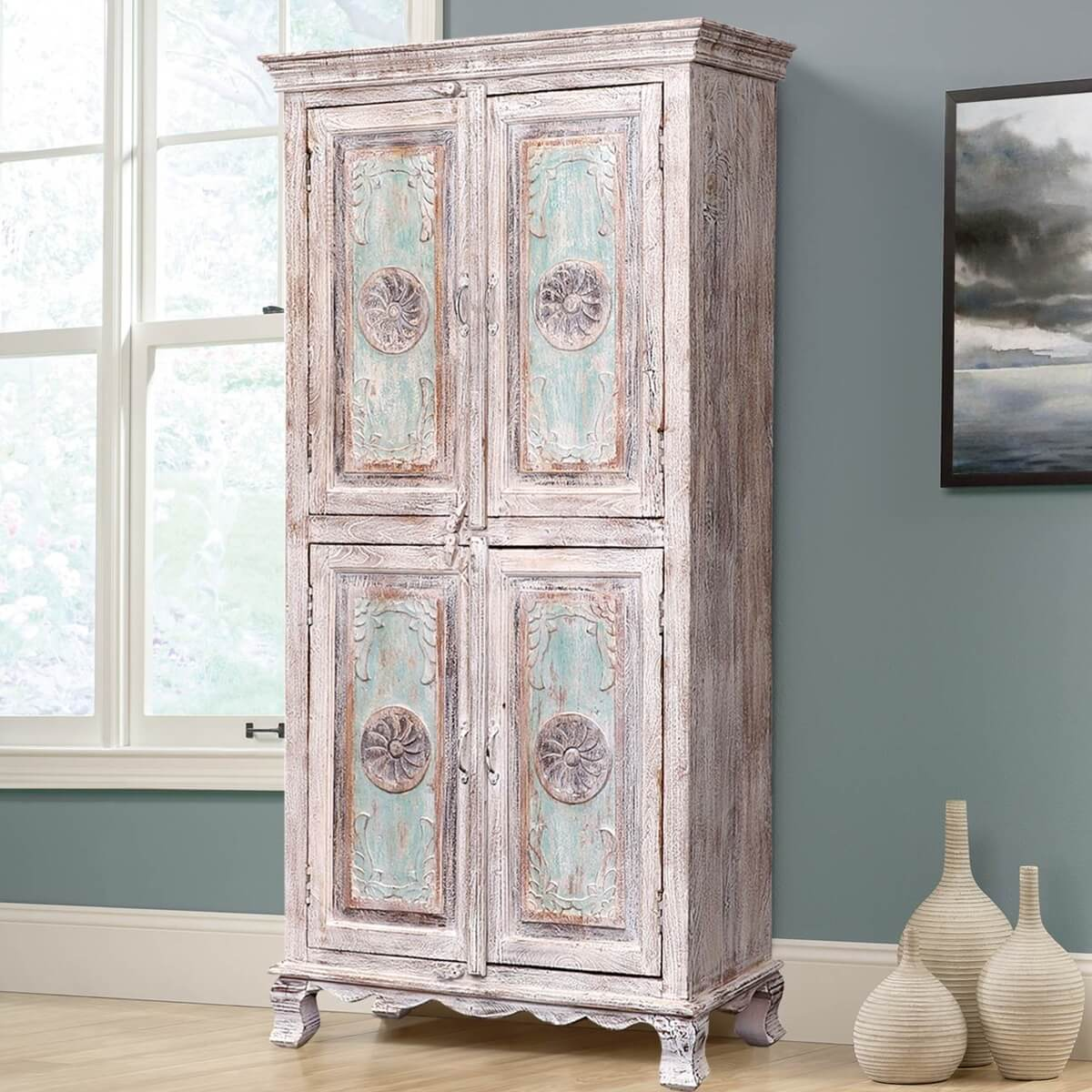 Butteville Winter White Distressed Reclaimed Wood 2 Cupboard Armoire