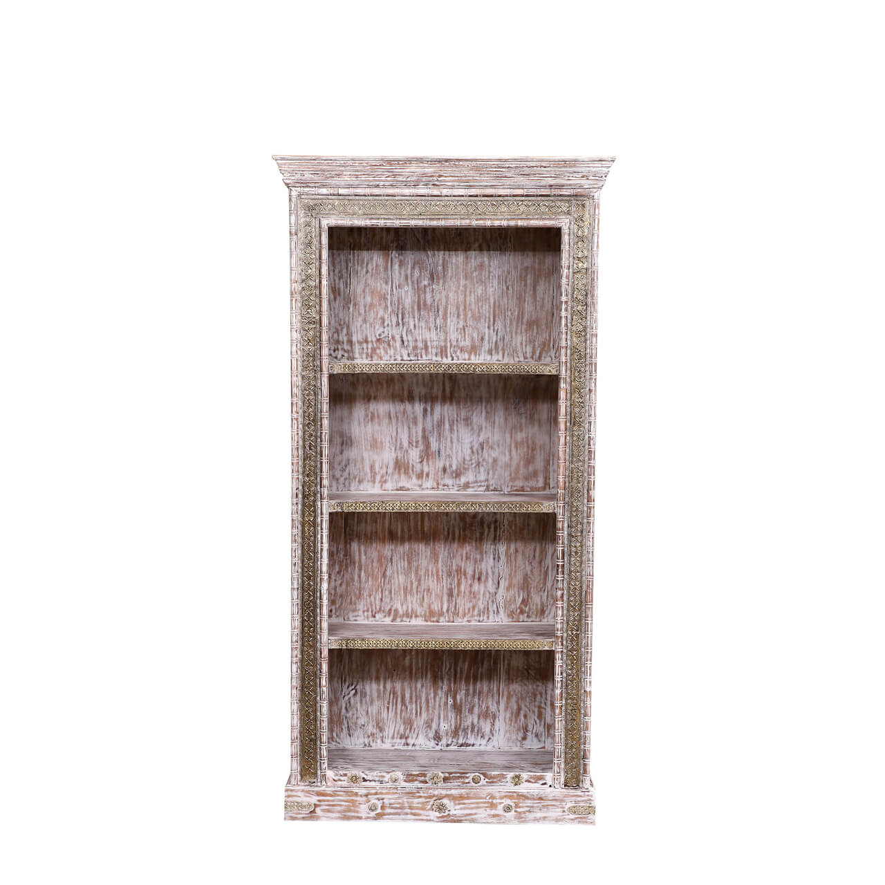 Amberg Distressed Rustic Reclaimed Wood Accent Home Office Bookcase