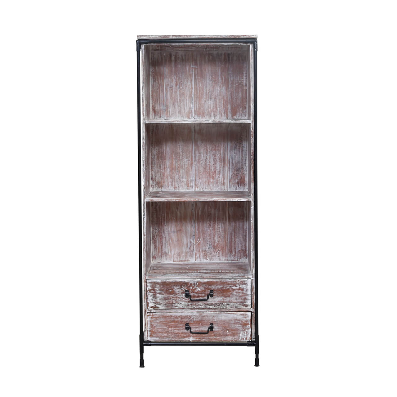 Cowiche Rustic Reclaimed Wood Open Shelves Industrial Display Unit