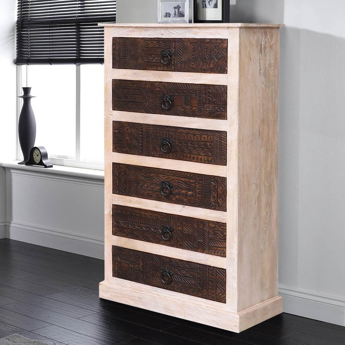 Bingen Reclaimed Wood Carved 6 Drawers Tall Dresser