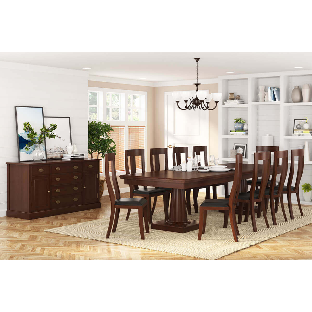 Cazenovia Solid Mahogany Wood 12 Piece Dining Room Set