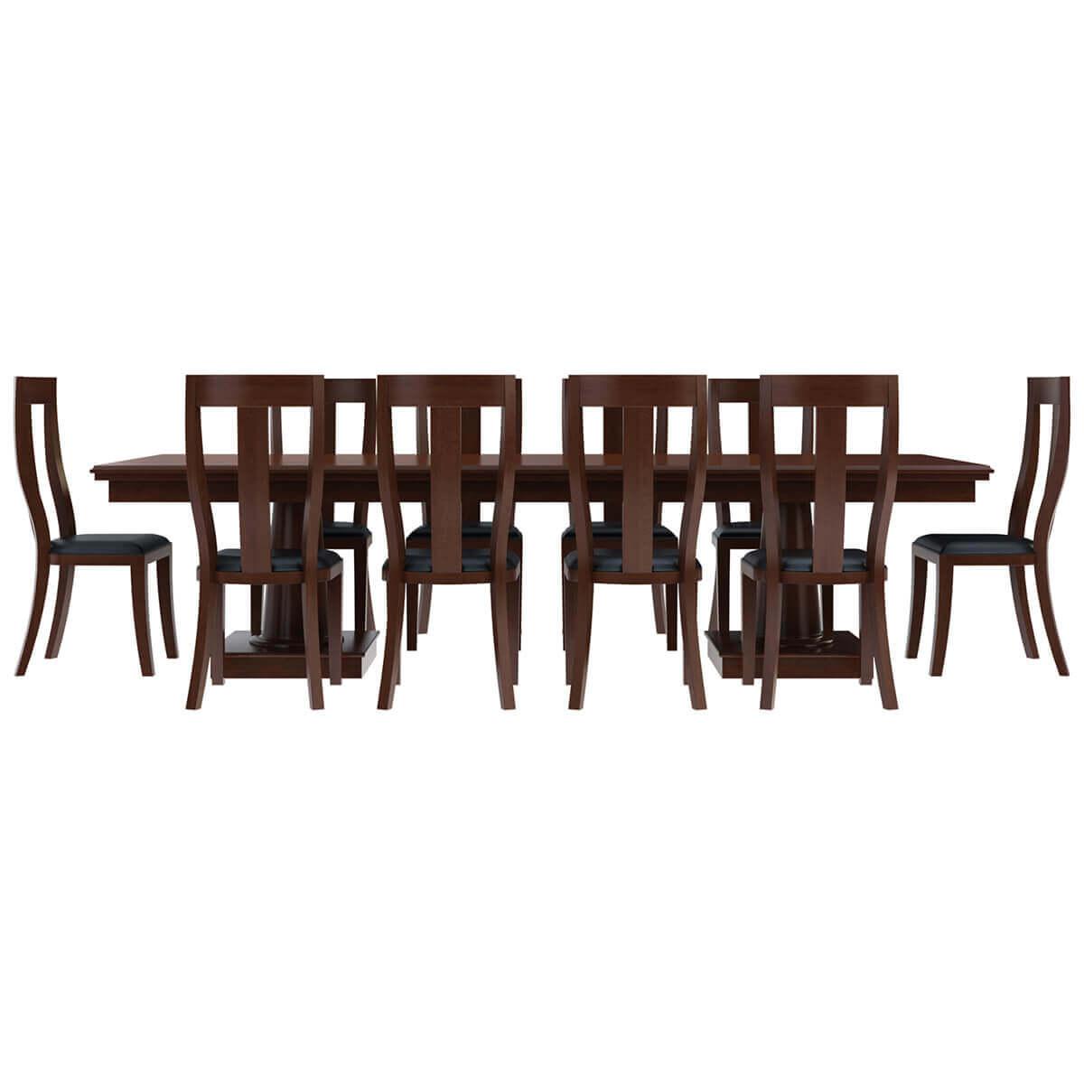 12 Piece Dining Room Set: Cazenovia Solid Mahogany Wood 12 Piece Dining Room Set
