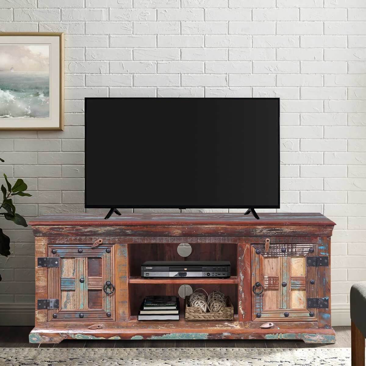 Walstonburg Reclaimed Wood Media TV Stand Cabinet