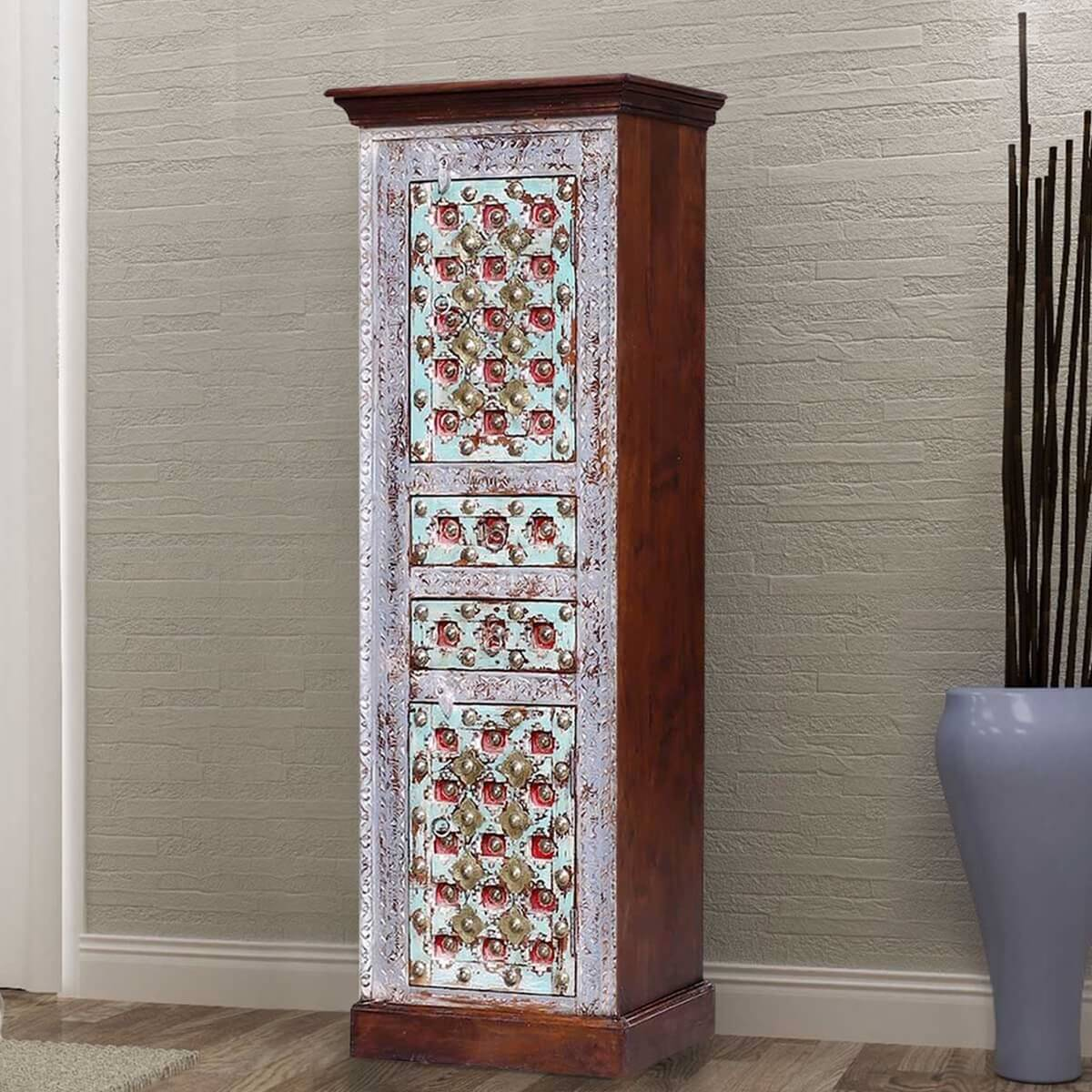 Brantleyville Distressed Wood Handcrafted Brass Inlay Tall Armoire