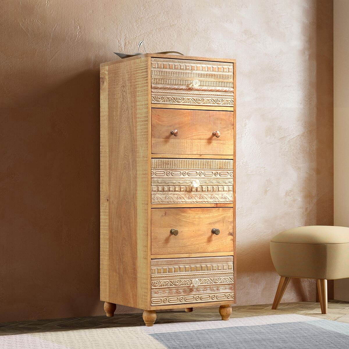 Hamlin Reclaimed Wood 5 Drawer Tall Rustic Dresser